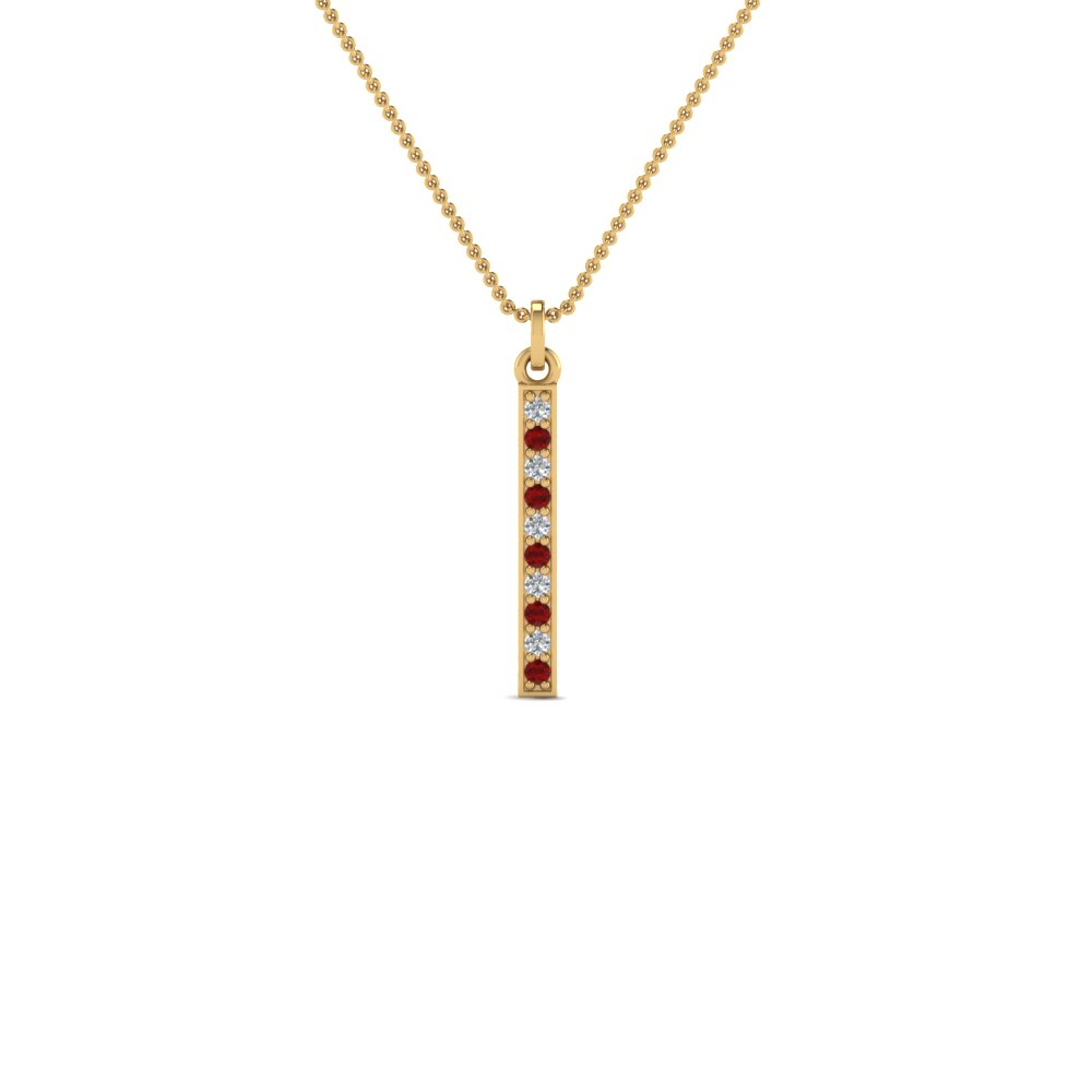fancy pave straight bar diamond necklace pendant with ruby in FDPD8094GRUDR NL YG