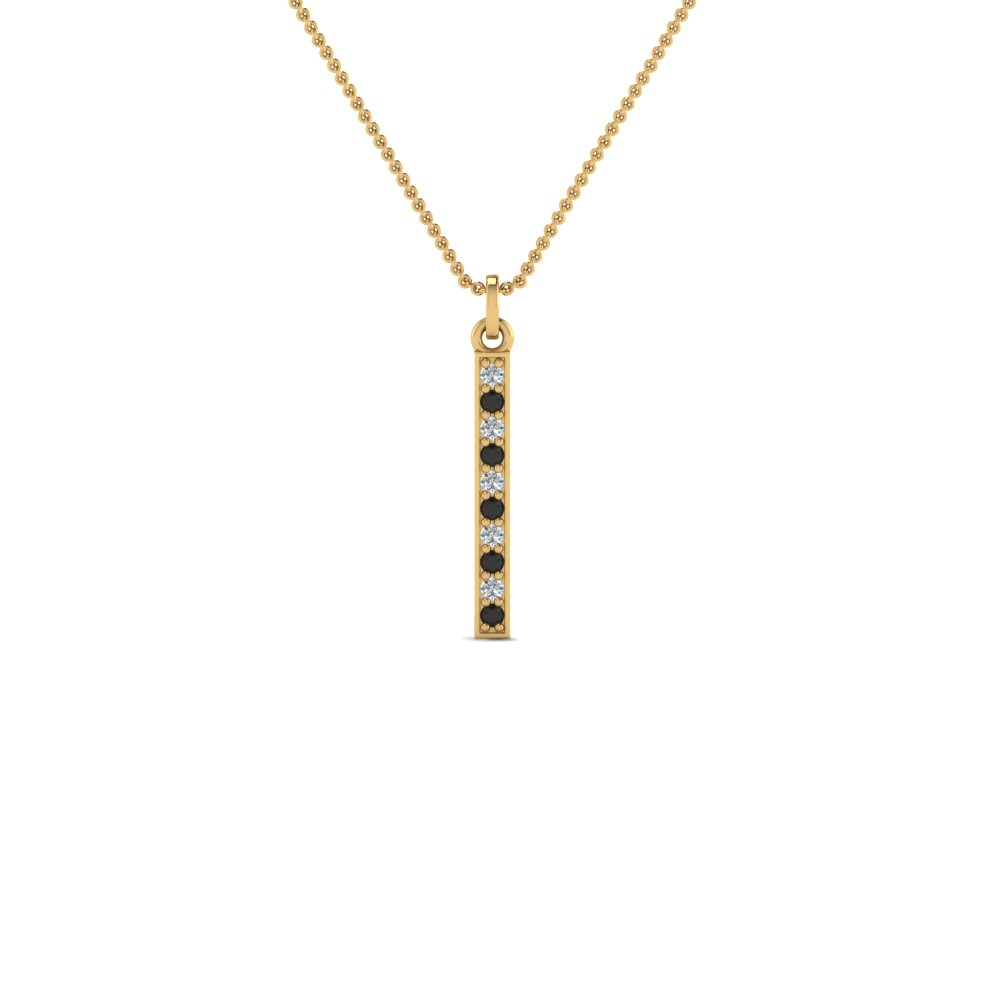 ae3f514472c3 fancy pave straight bar necklace pendant with black diamond in 18K yellow  gold FDPD8094GBLACK NL YG