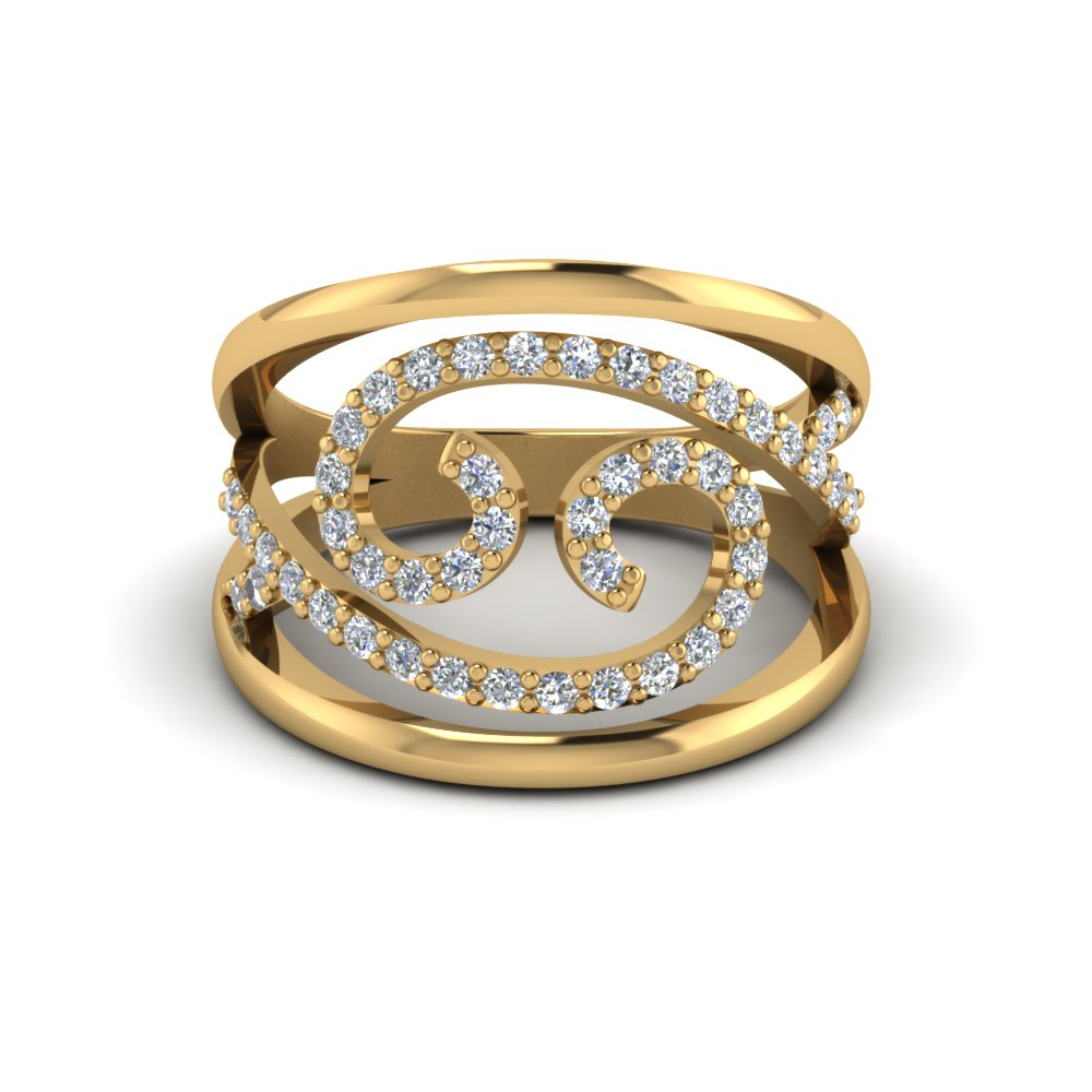 Fashion Open Swirl Diamond Alternate Engagement Ring In 14K Yellow Gold