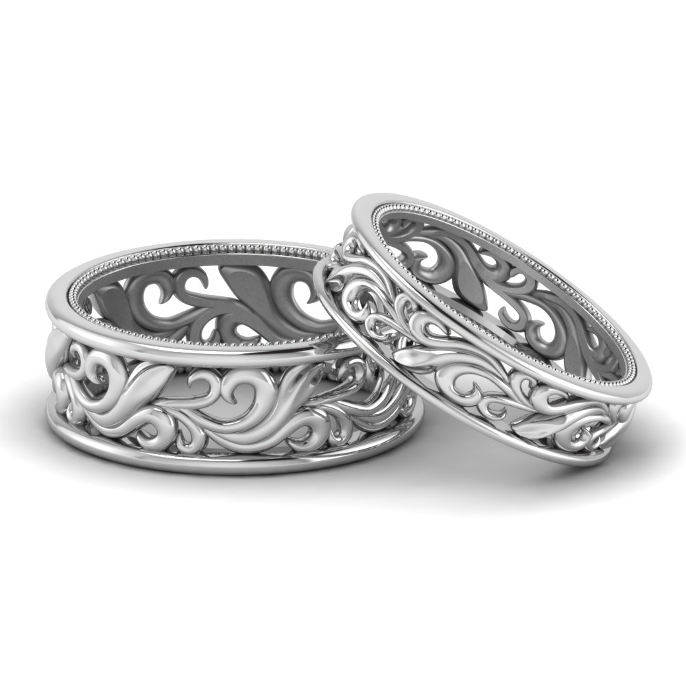 filigree wedding-bands-his-and-hers-in-FD9302B-NL-WG