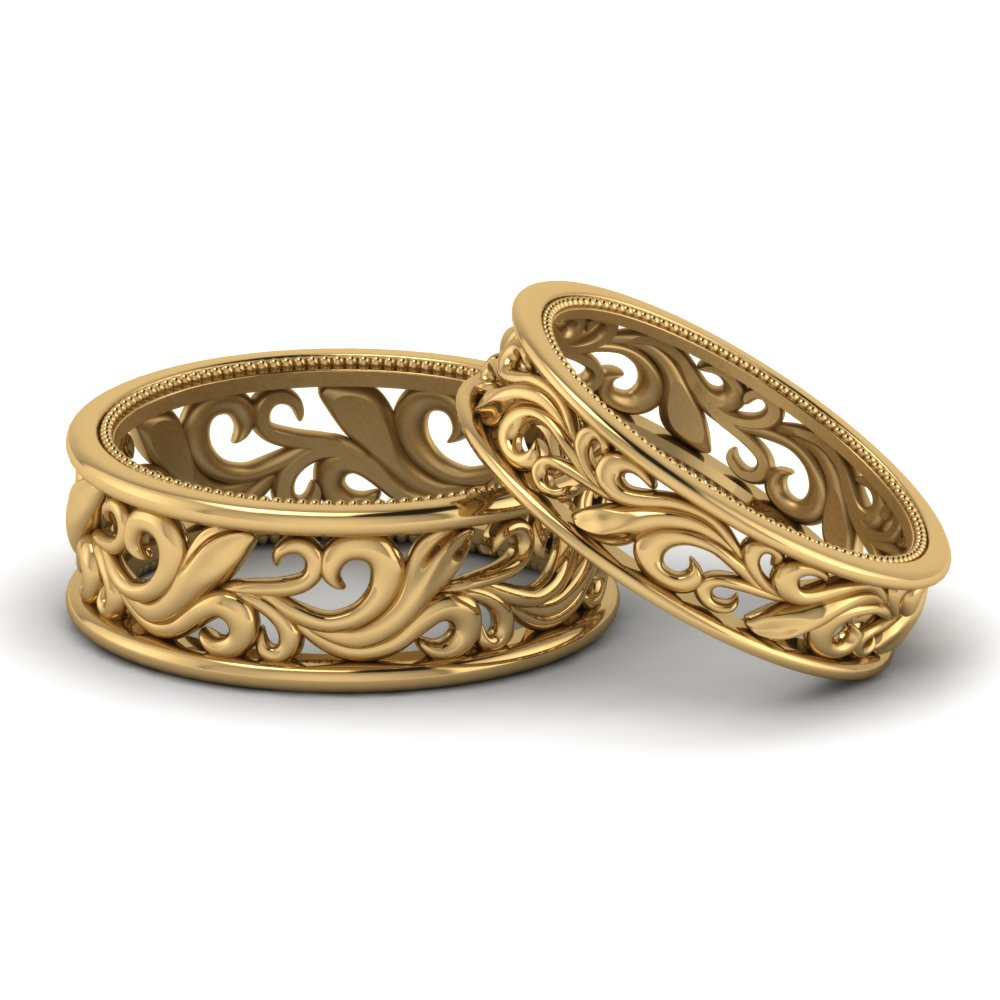 filigree wedding-bands-his-and-hers-in-FD9302B-NL-YG