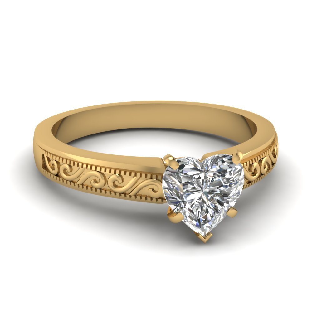filigree 0.75 ct. heart shaped diamond engagement ring in 14K yellow gold FDENR2133HTR NL YG