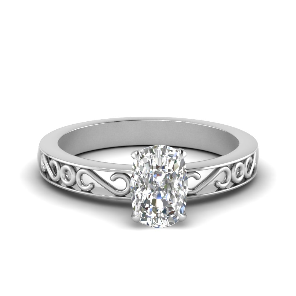 filigree-cushion-cut-single-stone-moissanite engagement-ring-in-FDENS3289CUR-NL-WG