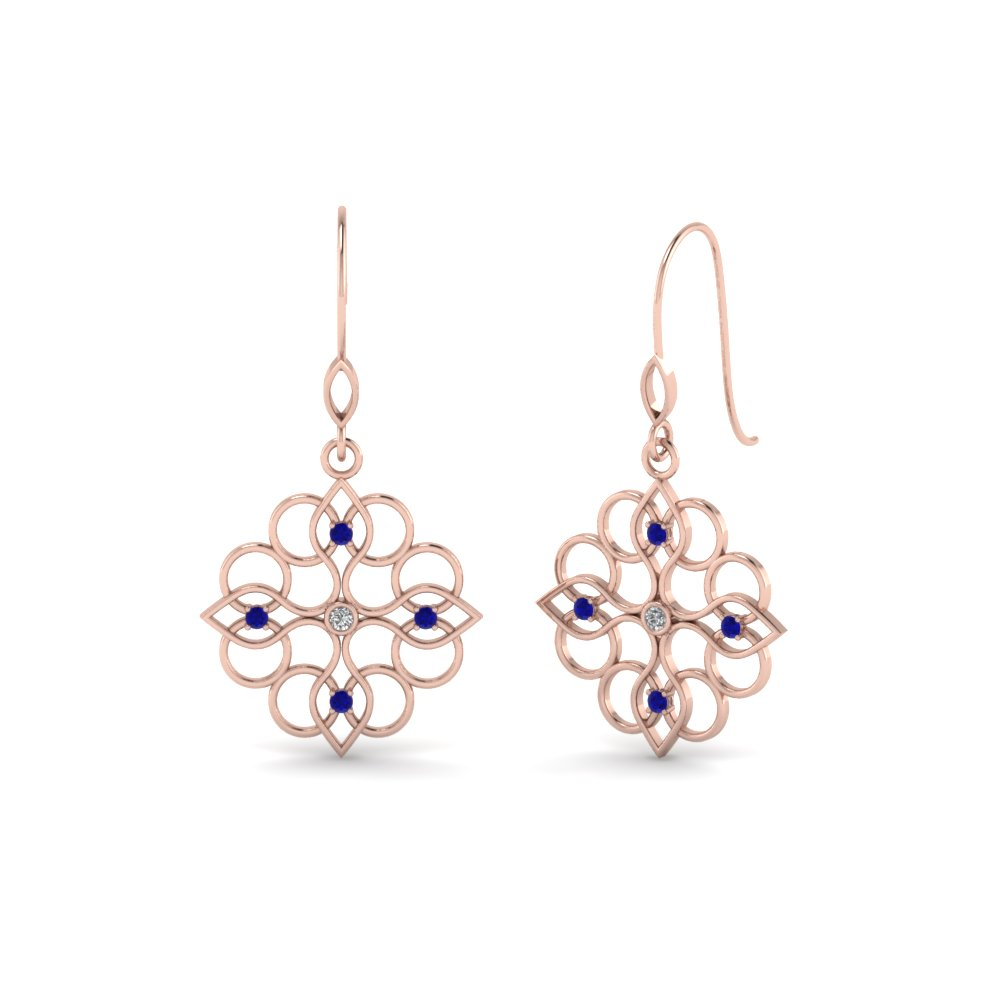 filigree dangle drop diamond earring with blue sapphire in 14K rose gold FDEAR85604GSABL NL RG