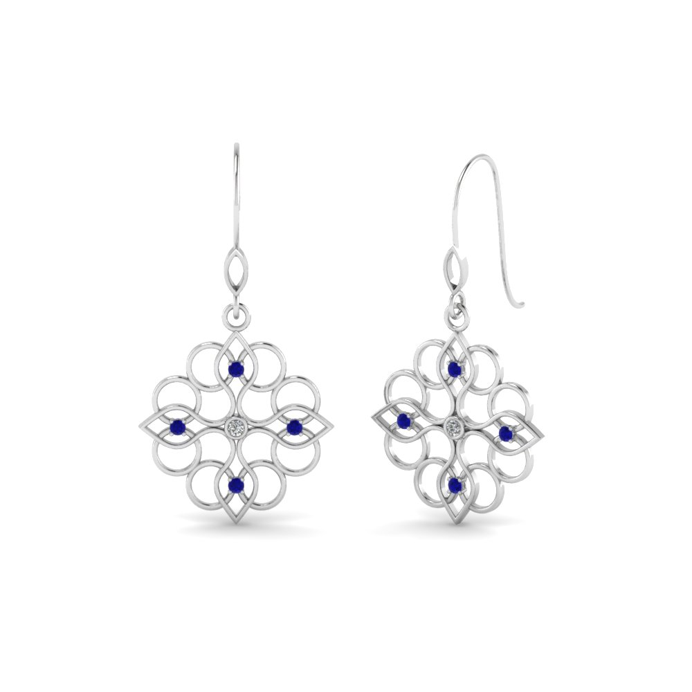 Filigree Dangle Drop Sapphire Earring