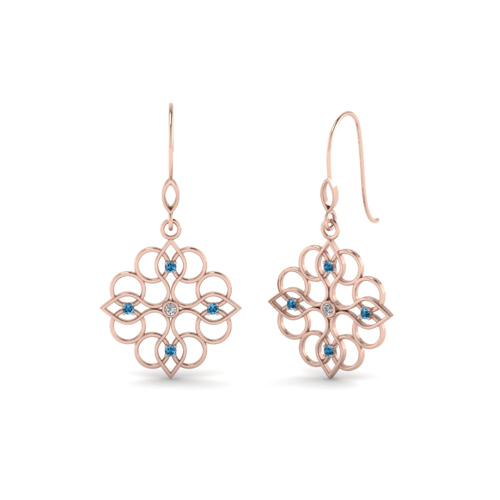 filigree dangle drop diamond earring with blue topaz in 14K rose gold FDEAR85604GICBLTO NL RG