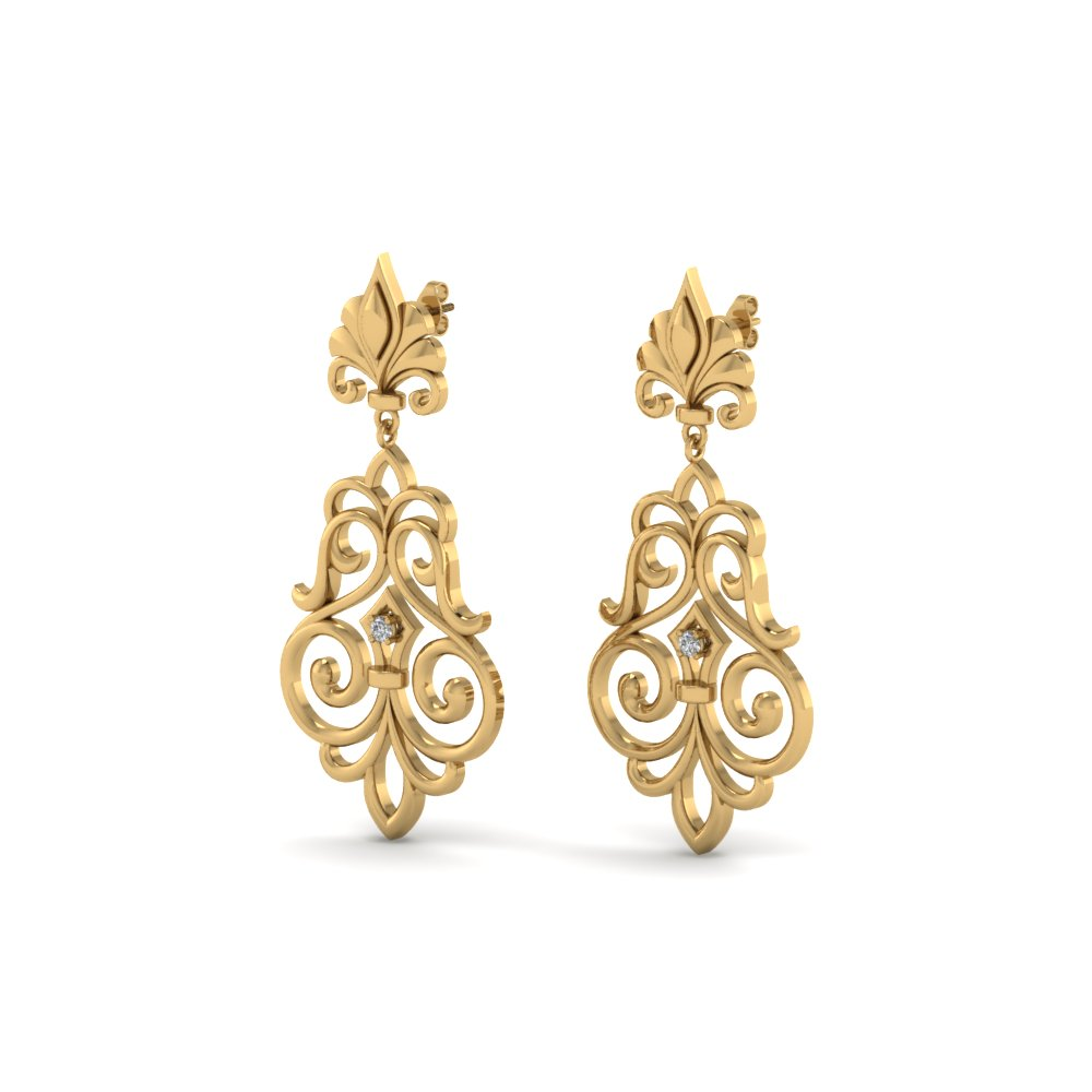 Filigree Dangle Drop Gold Earring
