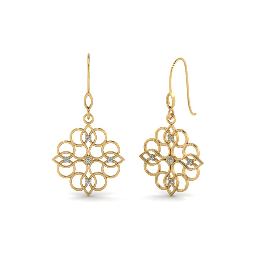 Yellow Gold Filigree Drop Earring