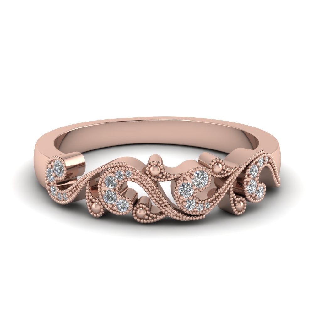 filigree diamond band for women in 14K rose gold FD652293B NL RG
