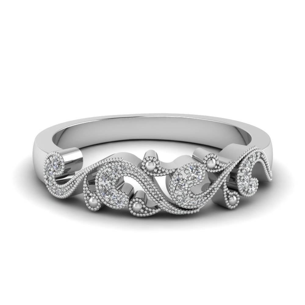 filigree diamond band for women in 14K white gold FD652293B NL WG