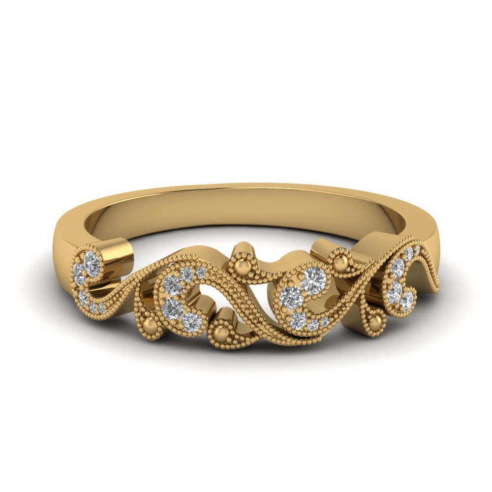 Filigree Yellow Gold Diamond Band