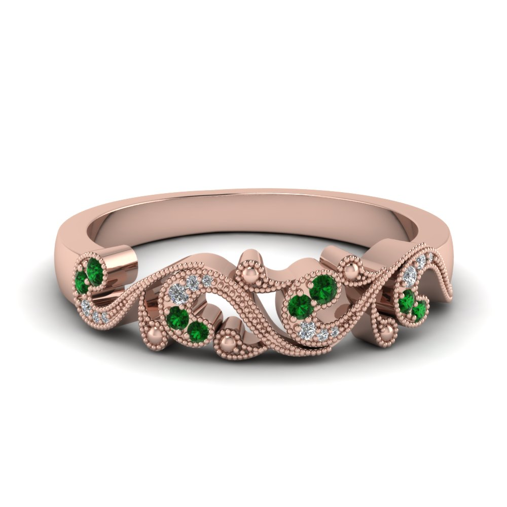 filigree diamond band for women with emerald in 14K rose gold FD652293BGEMGR NL RG
