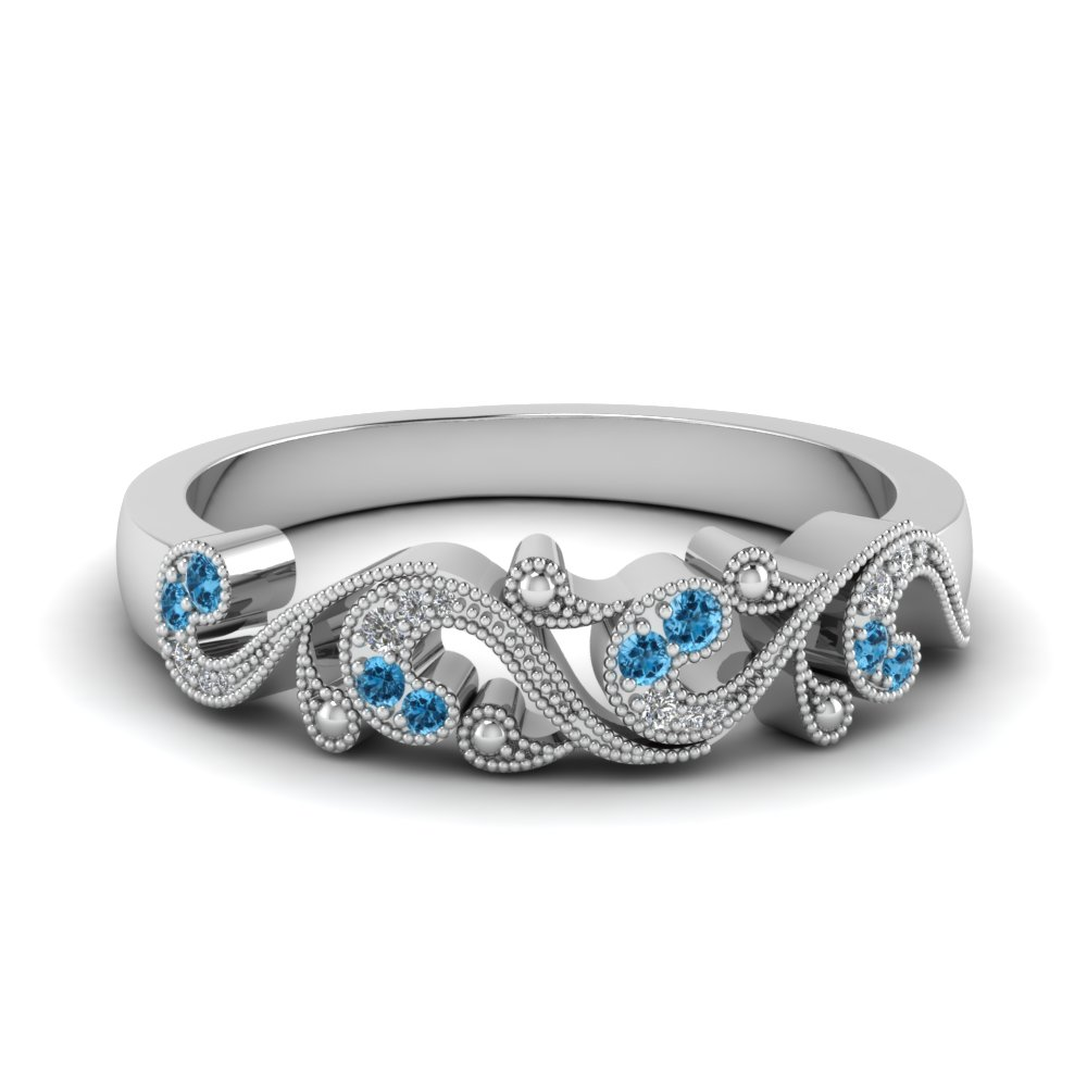 filigree diamond band for women with blue topaz in 14K white gold FD652293BGICBLTO NL WG