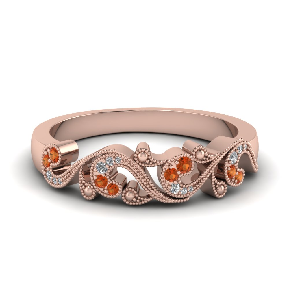 filigree diamond band for women with orange sapphire in 14K rose gold FD652293BGSAOR NL RG