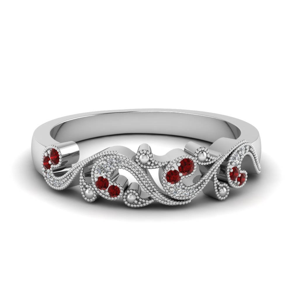 filigree diamond band for women with ruby in 14K white gold FD652293BGRUDR NL WG