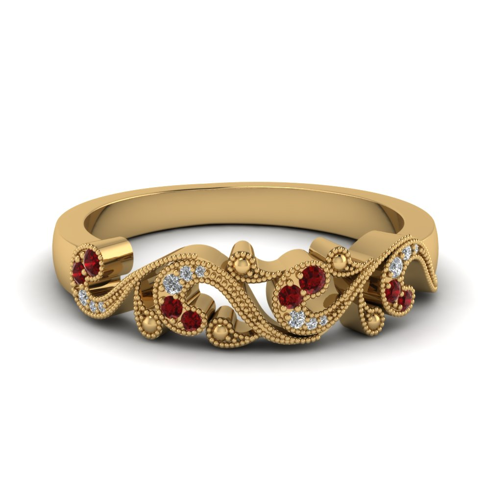 Filigree Ruby And Diamond Wedding Band