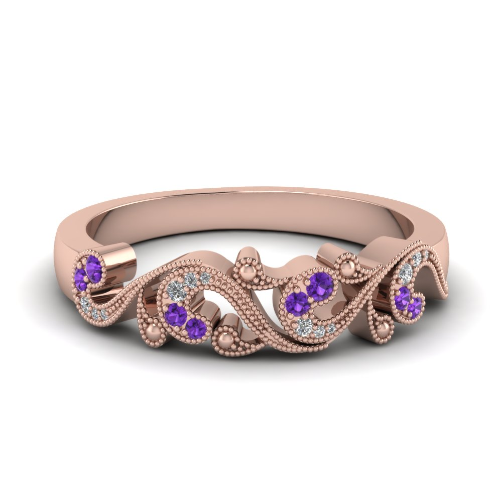 Milgrain Purple Topaz Band