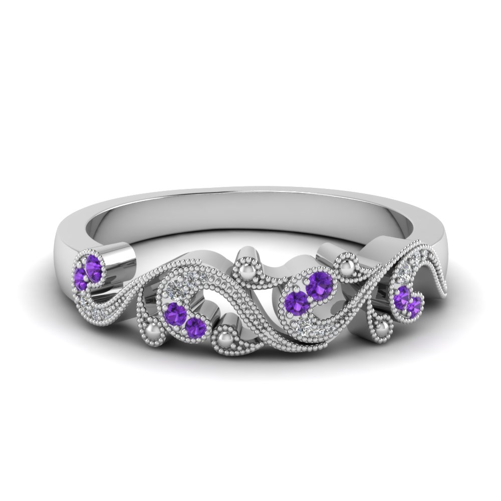 Filigree Diamond Wedding Band For Women With Purple Topaz In Fd652293bgvito Nl Wg
