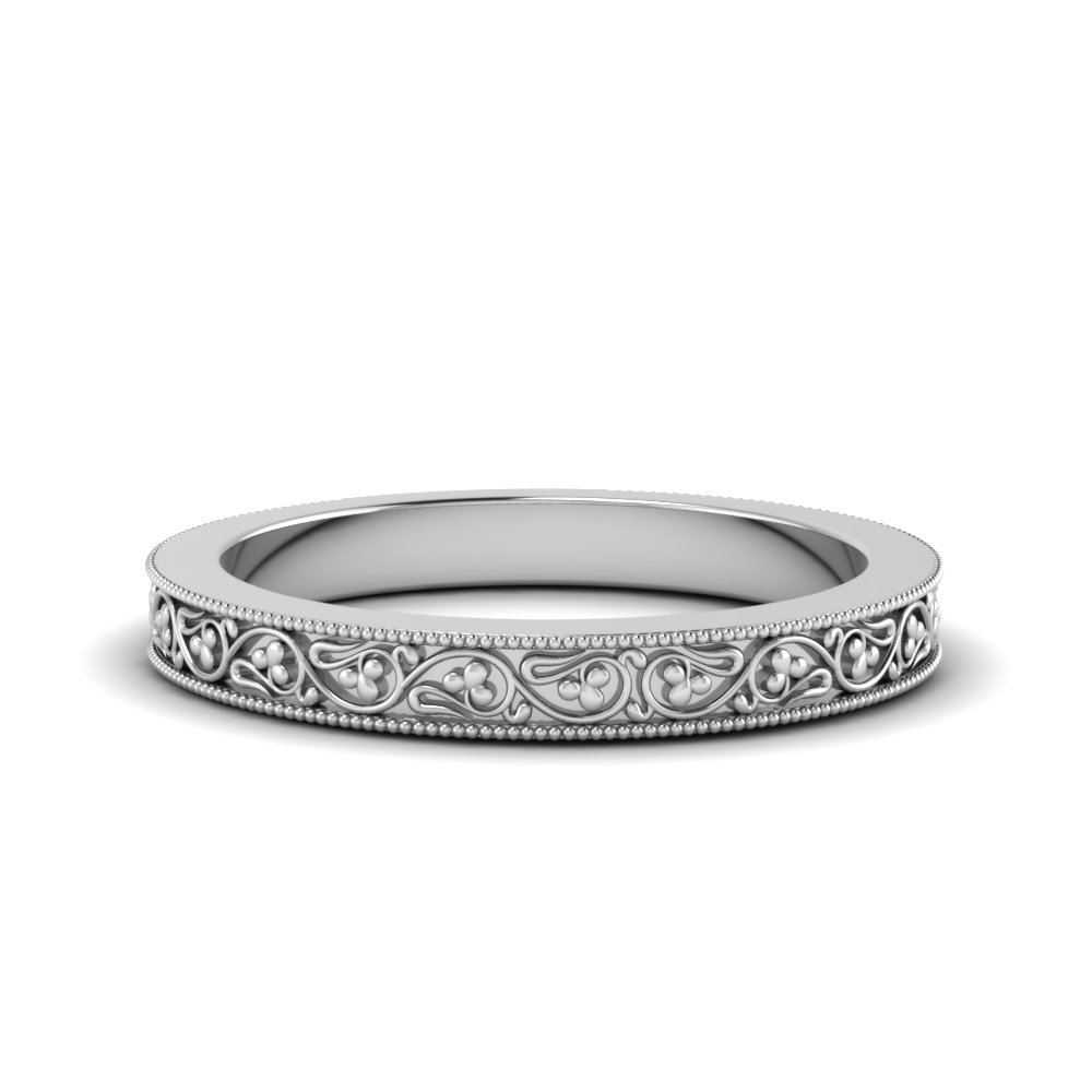 White Gold Antique Band