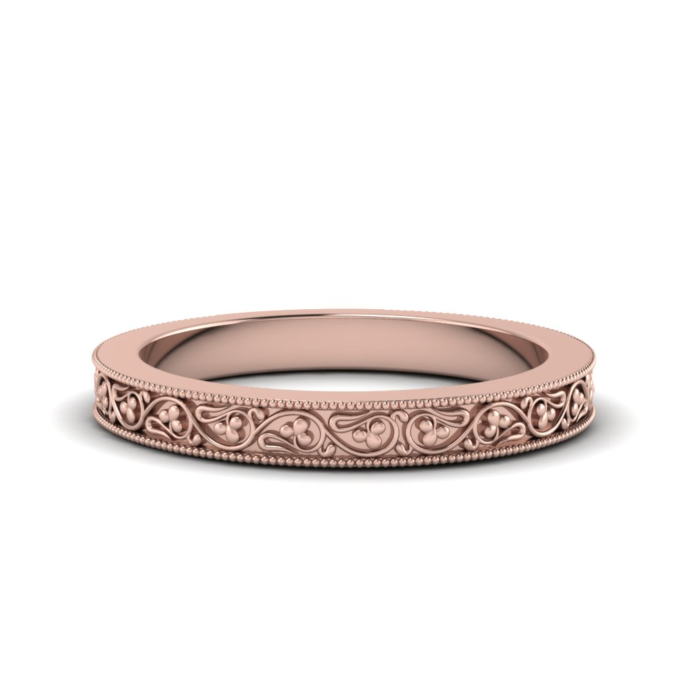 Rose Gold Filigree Milgrain Band