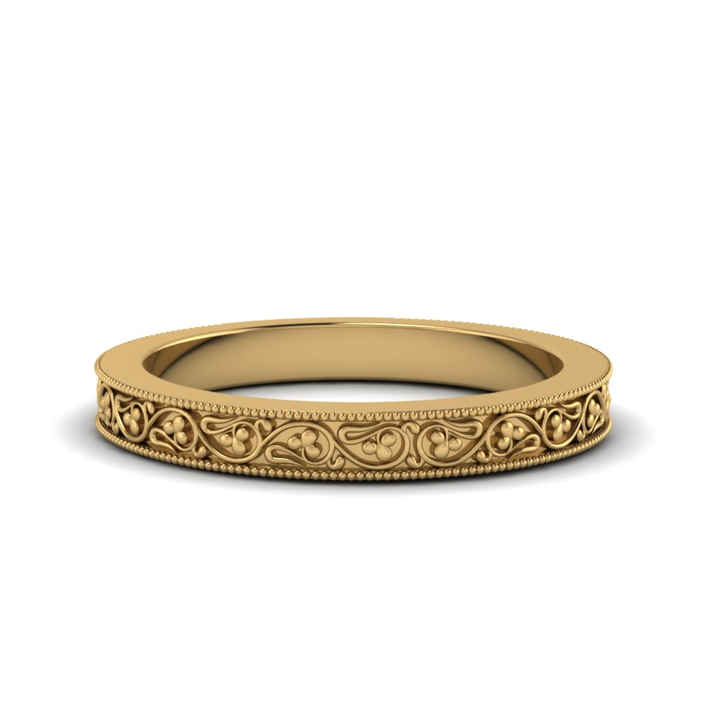 filigree antique wedding band in FDENS3627B NL YG