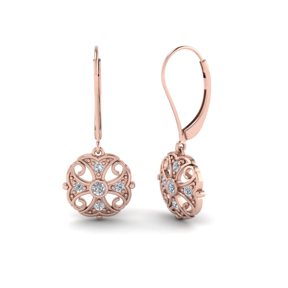 Filigree Gold Dangle Diamond Earring In 18k Rose Fdear65106angle1 Nl Rg