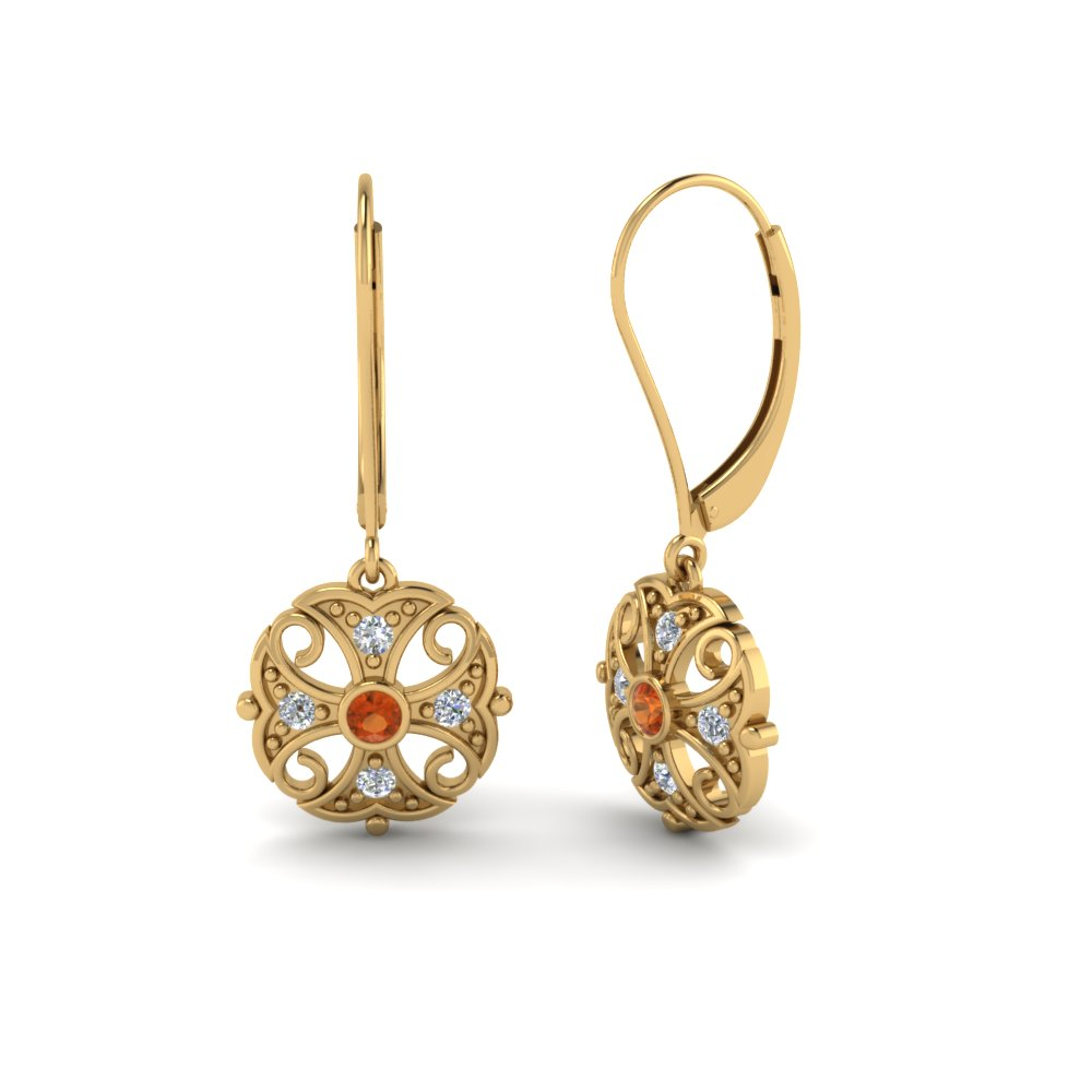 filigree gold dangle diamond earring with orange sapphire in 14K yellow gold FDEAR65106GSAORANGLE1 NL YG