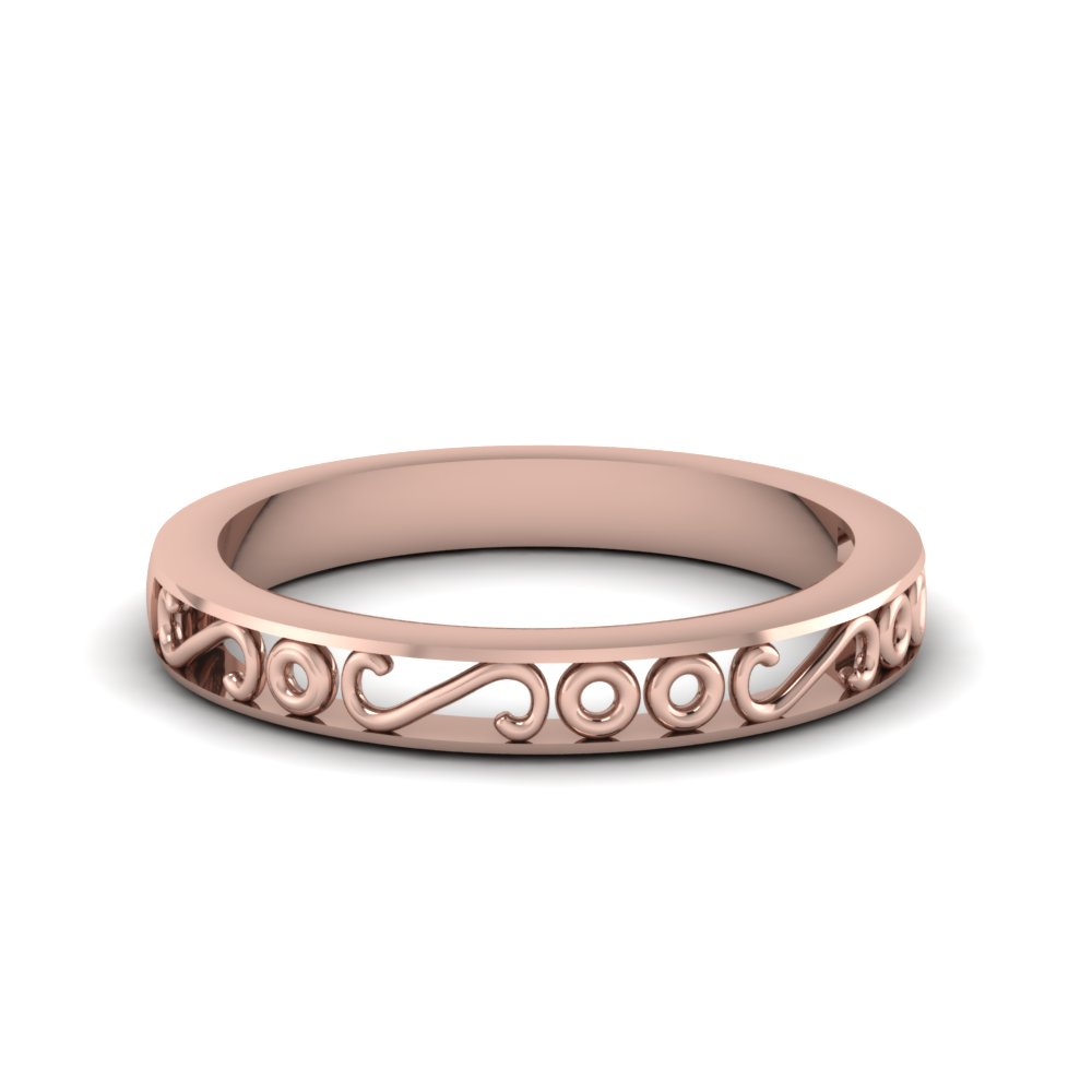 Filigree Design Rose Gold Band