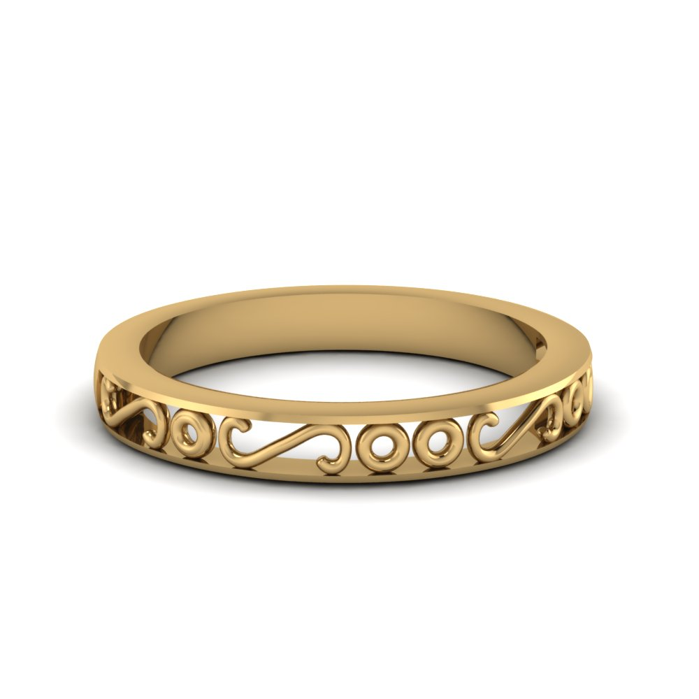 filigree gold wedding band mens ring in 14k yellow gold