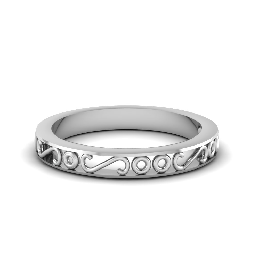 Filigree Design Mens Wedding Band