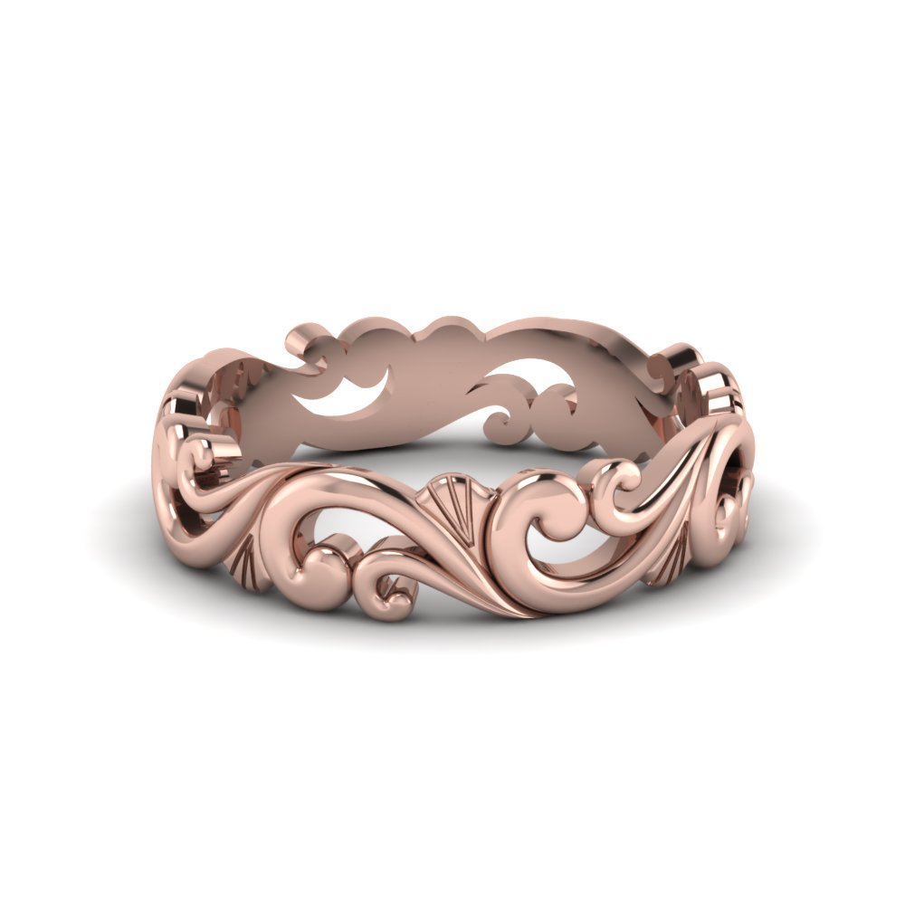 filigree womens wedding band in 14K rose gold FD50063B NL RG