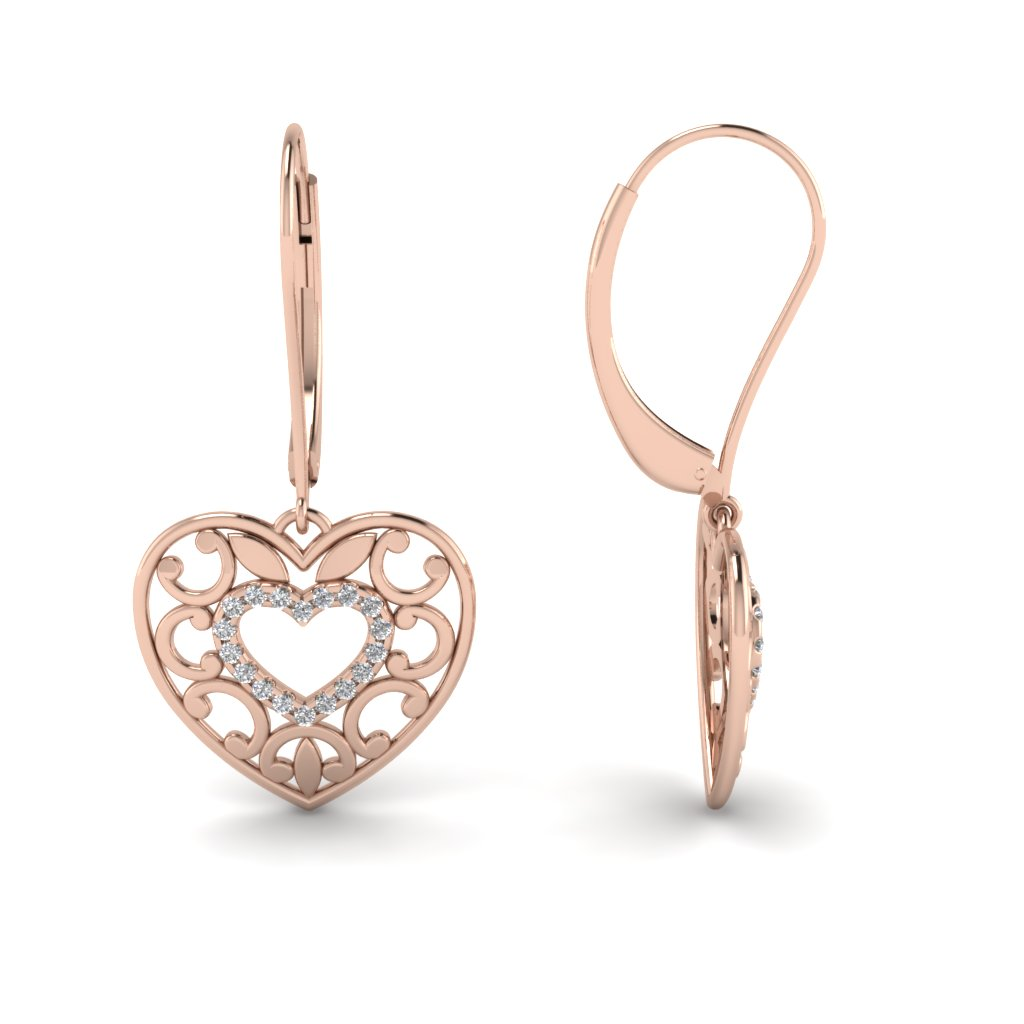 Filigree Heart Round Diamond Earrings