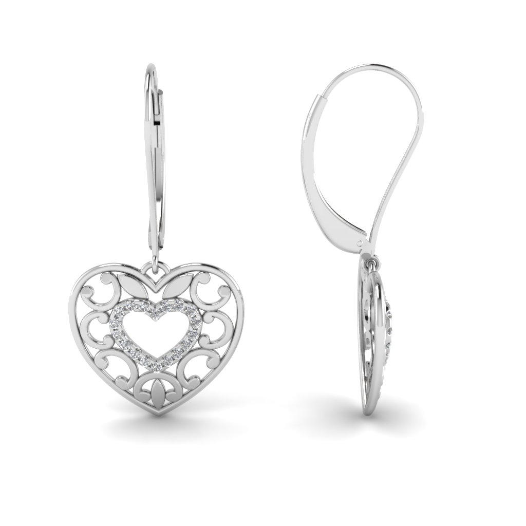 Filigree Heart Diamond Earring In 18k White Gold Fdear650069 Nl Wg
