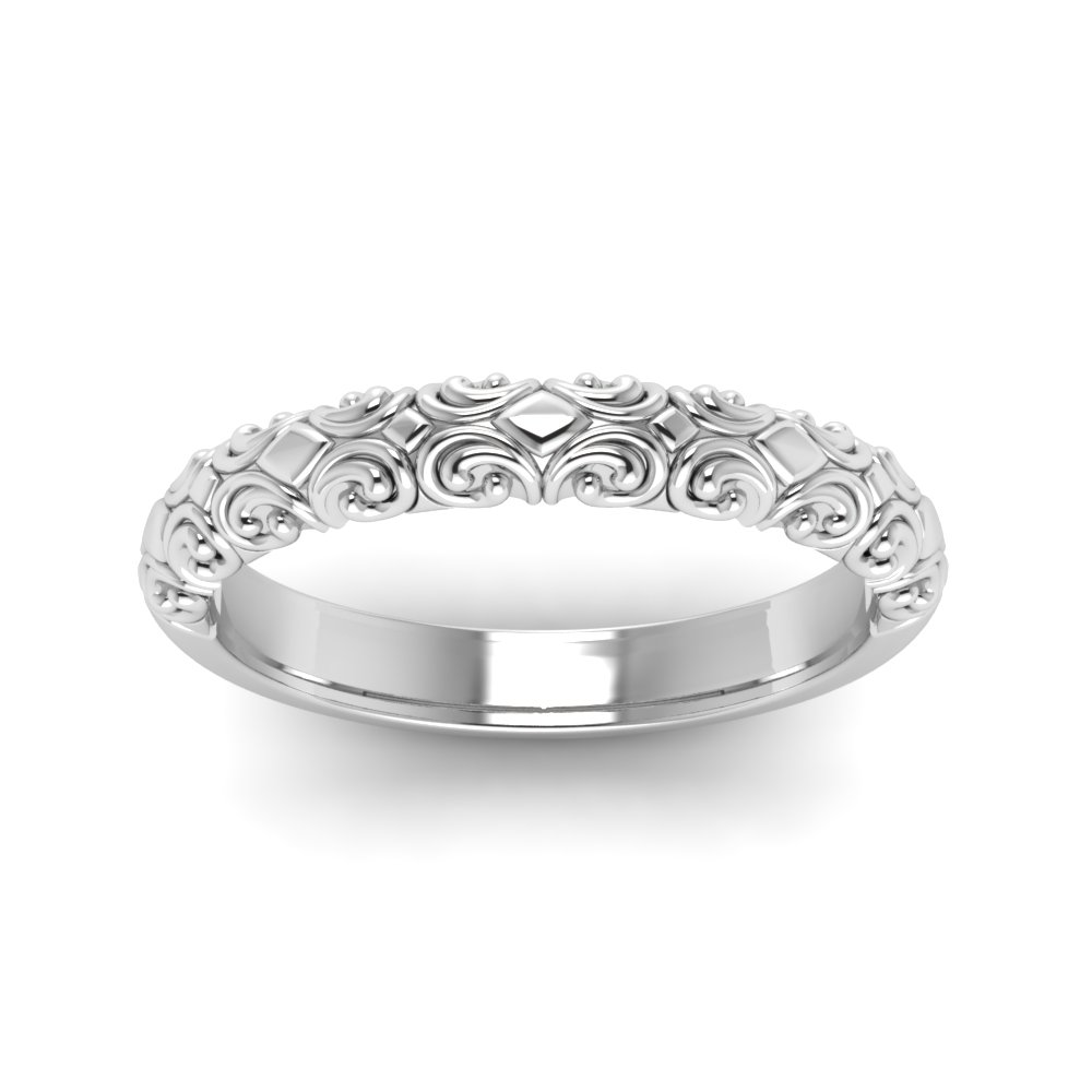 Filigree Intricate Wedding Band Vintage Rings