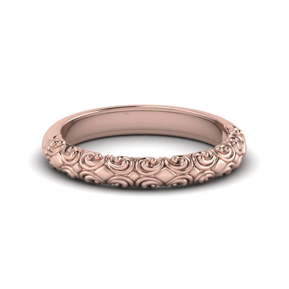 filigree intricate wedding band in FD121974B NL RG