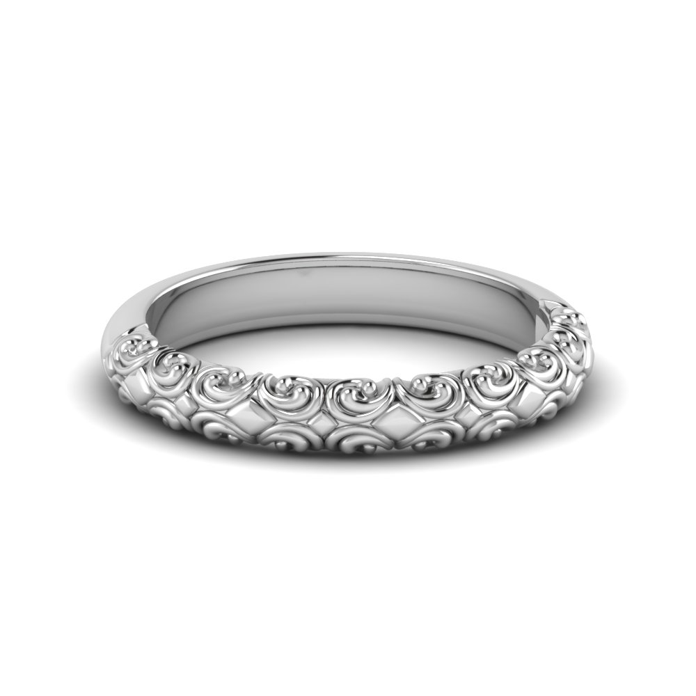 filigree intricate wedding band in FD121974B NL WG