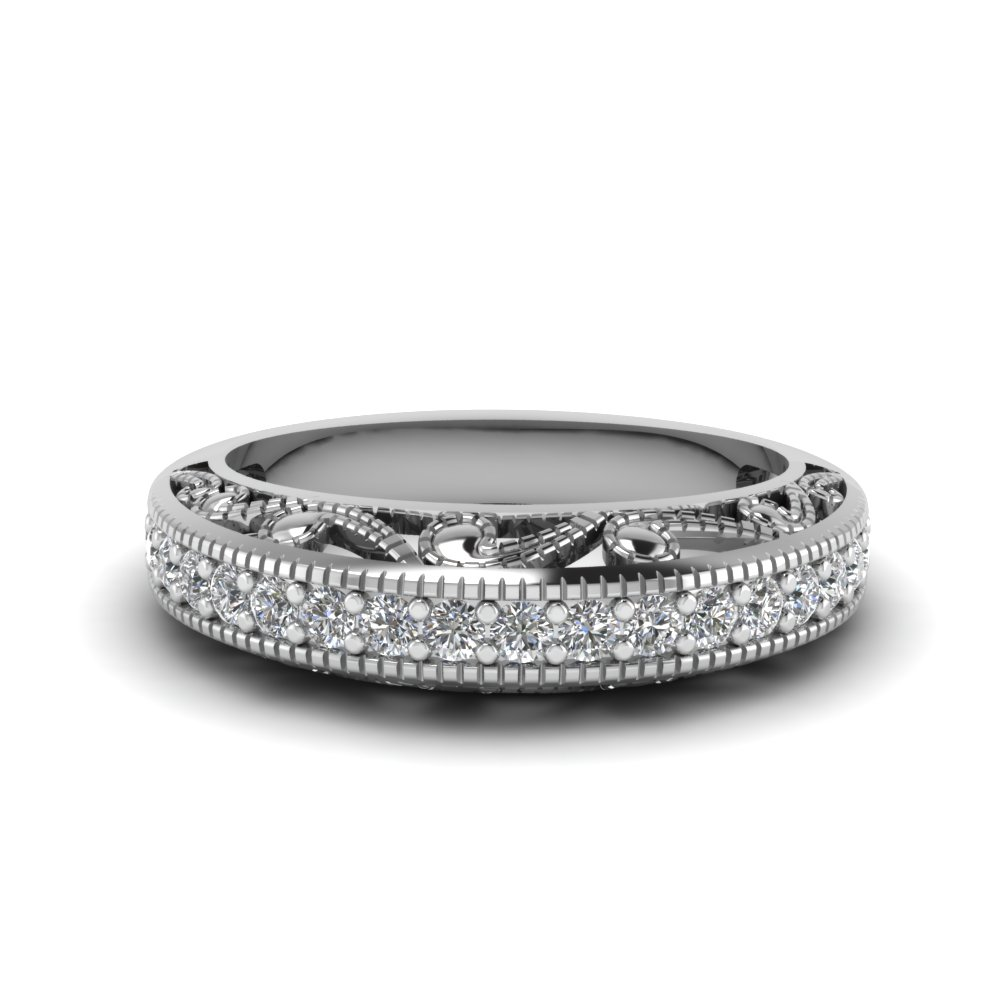 Platinum Milgrain Pave Antique Band