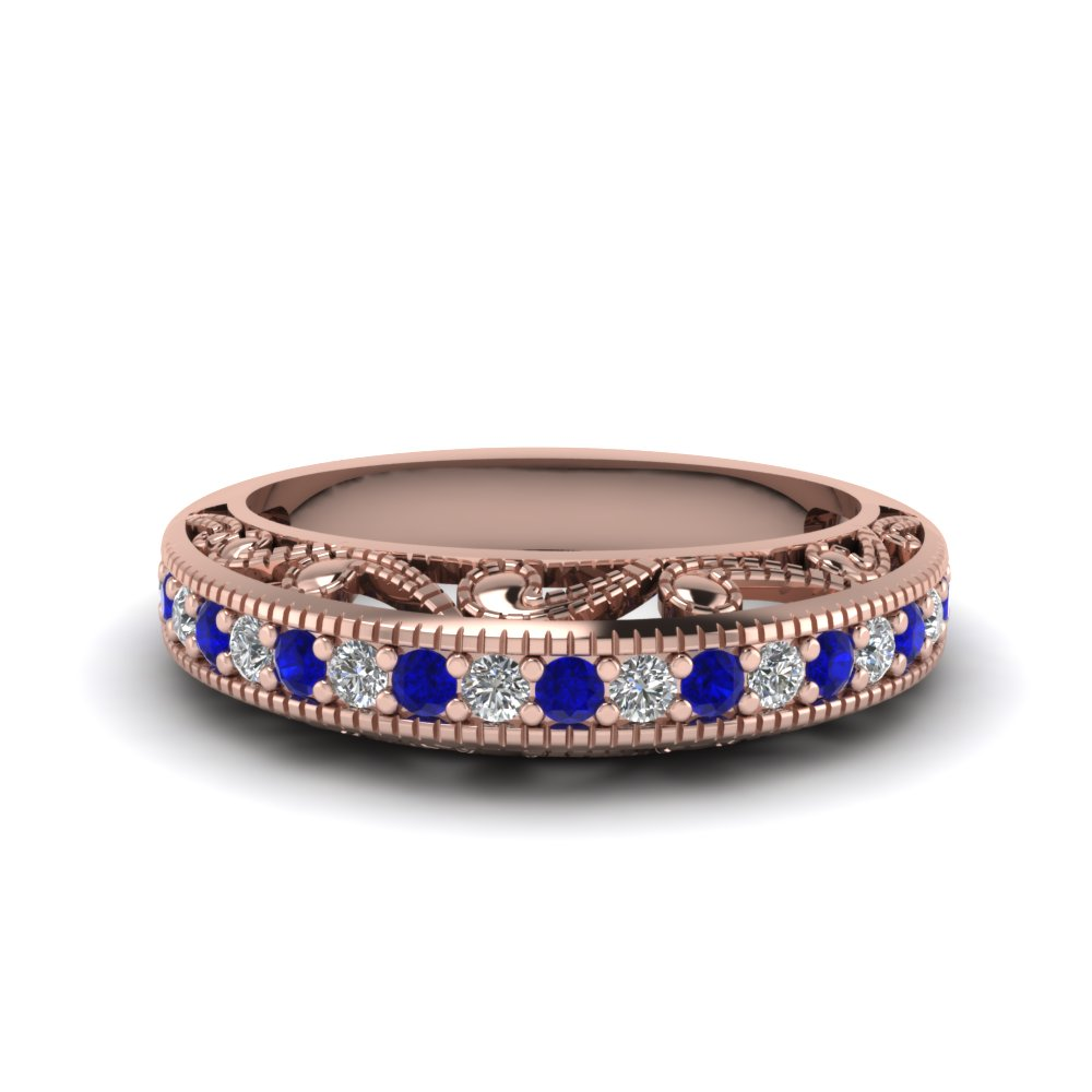 filigree paisley antique diamond anniversary band with sapphire in FDENS613BGSABL NL RG