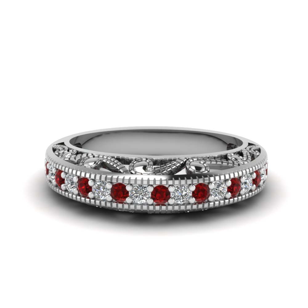Ruby Filigree Wedding Band
