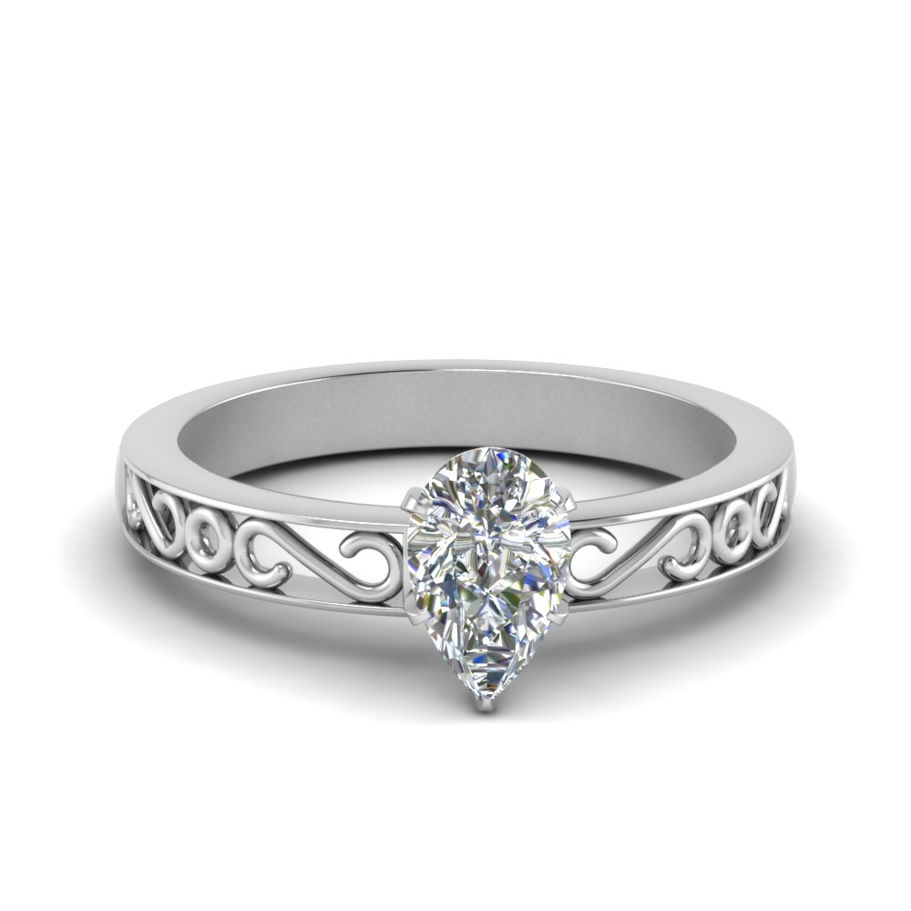 filigree-pear-shaped-single-stone-moissanite engagement-ring-in-FDENS3289PER-NL-WG