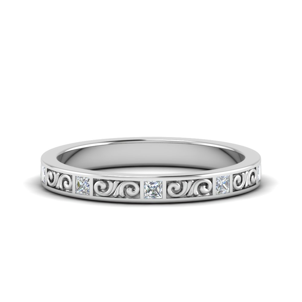 9136cd28a filigree princess cut diamond wedding band in FDEWB122534BPR NL WG