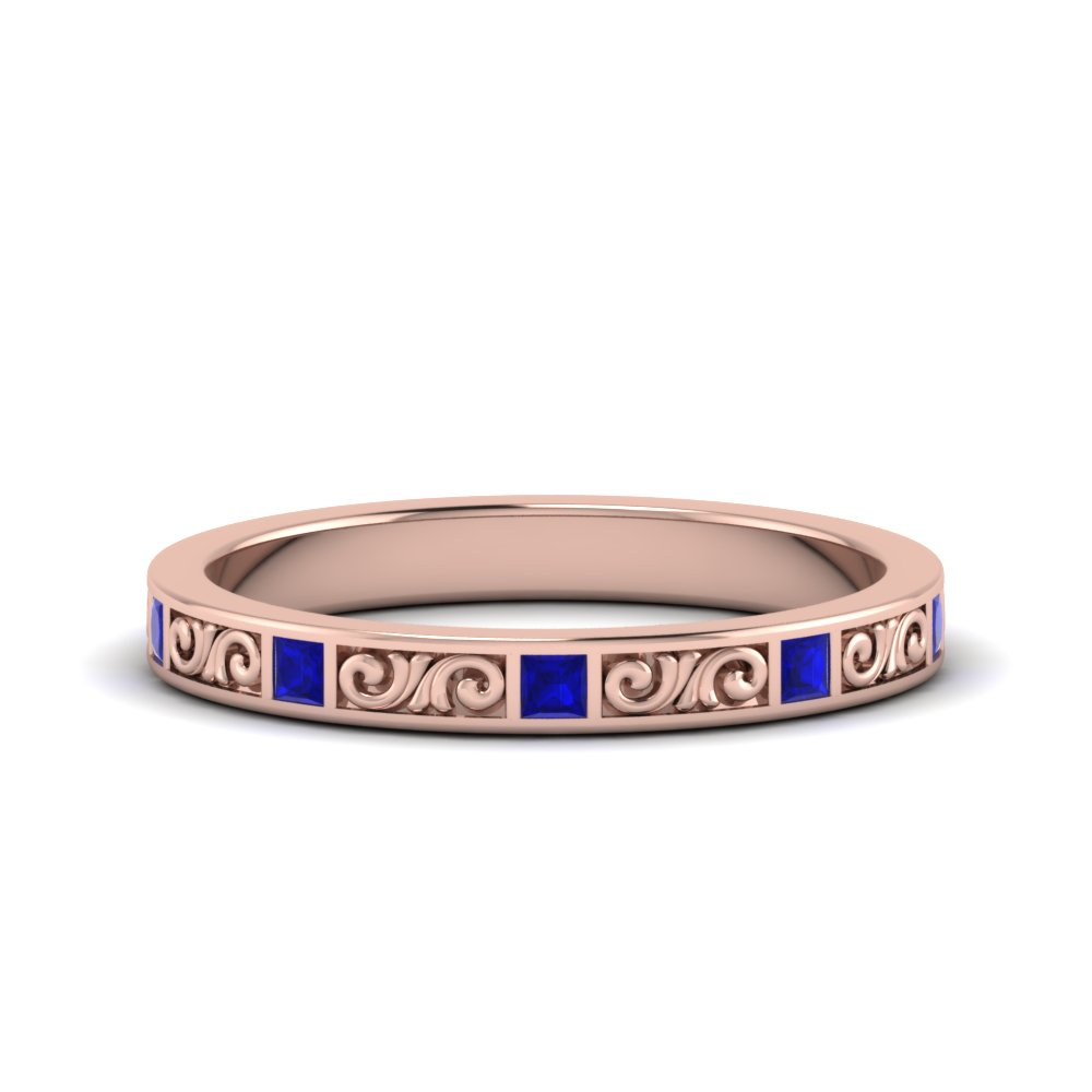 Sapphire Rose Gold Wedding Band