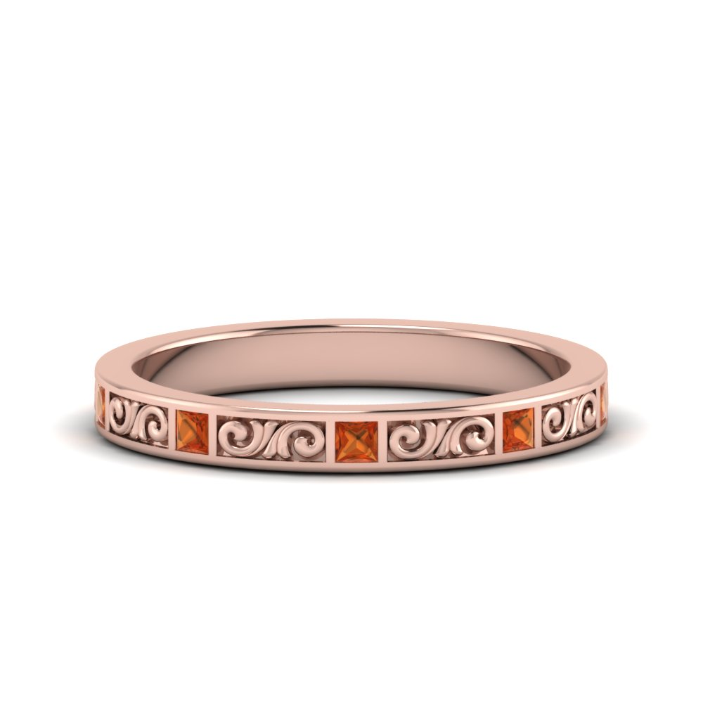Delicate Princess Cut Orange Sapphire Band