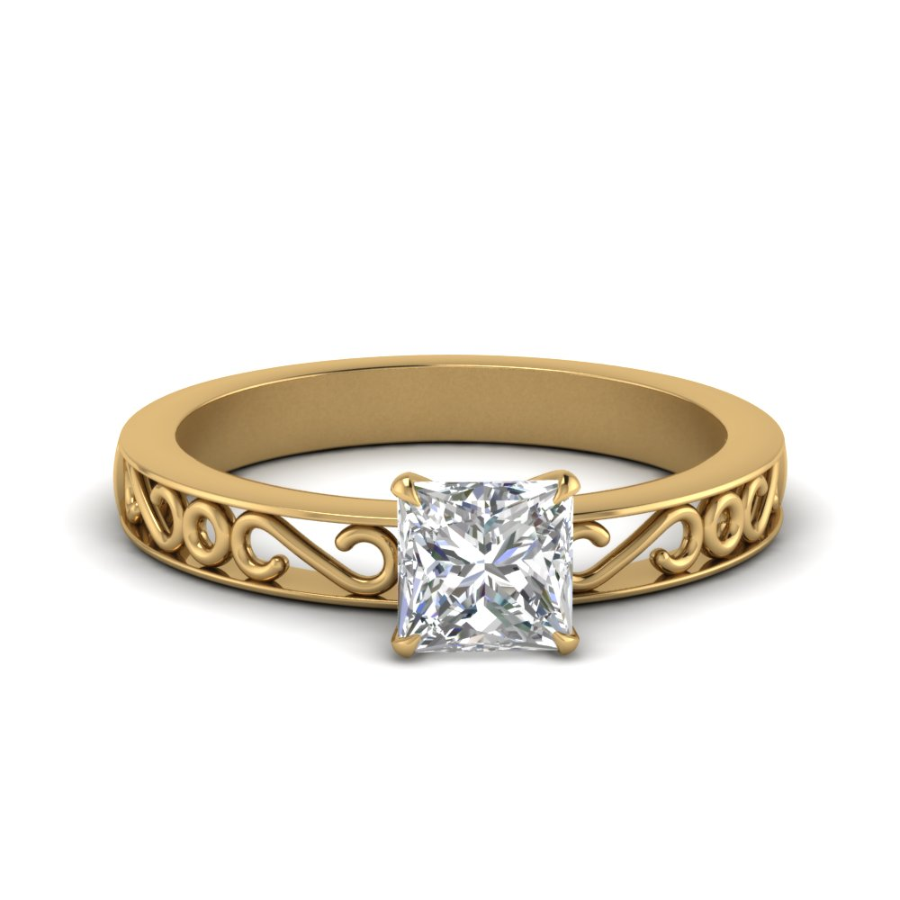 filigree-princess-cut-single-stone-moissanite engagement-ring-in-FDENS3289PRR-NL-YG