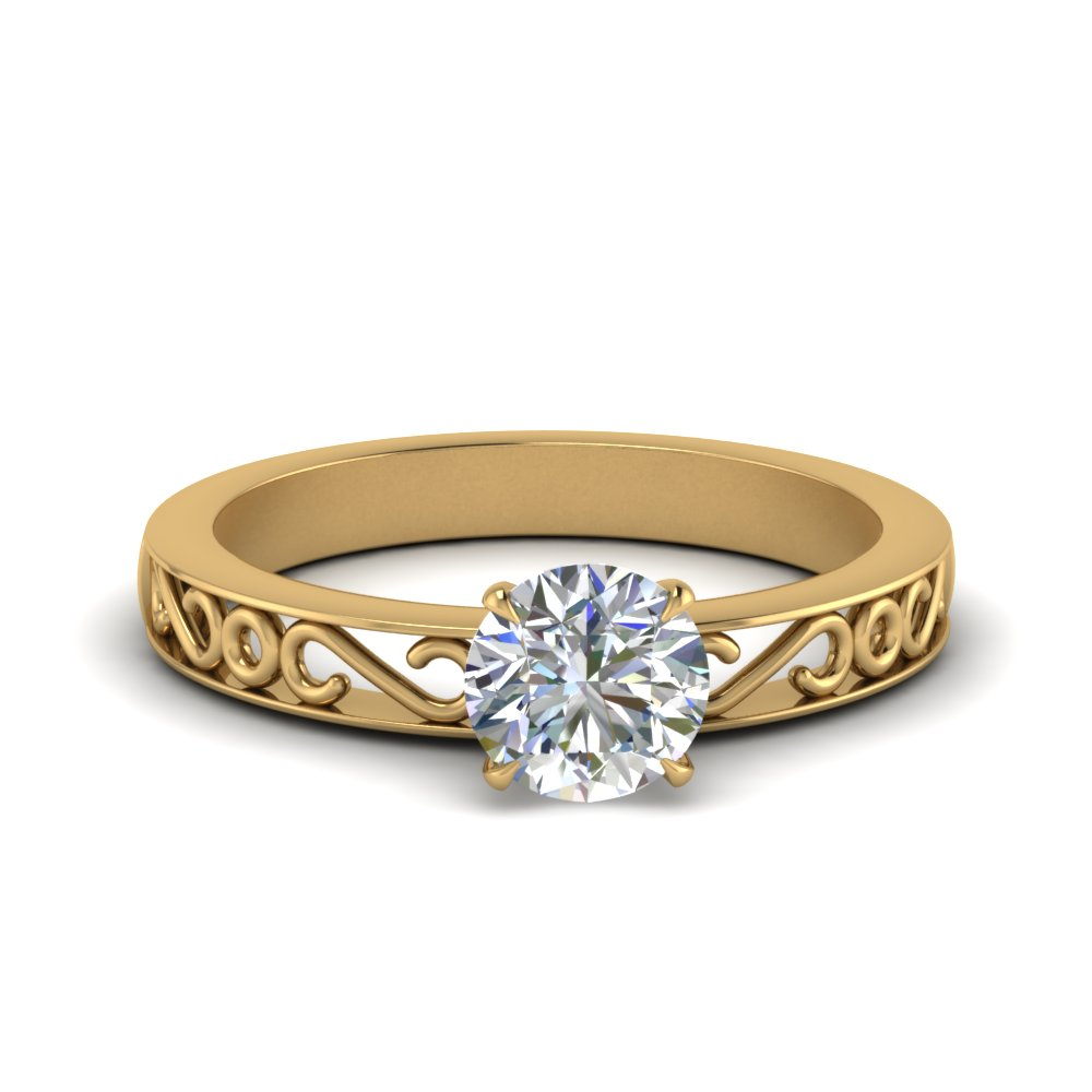 filigree-round-cut-single-stone-lab diamond engagement-ring-in-FDENS3289ROR-NL-YG