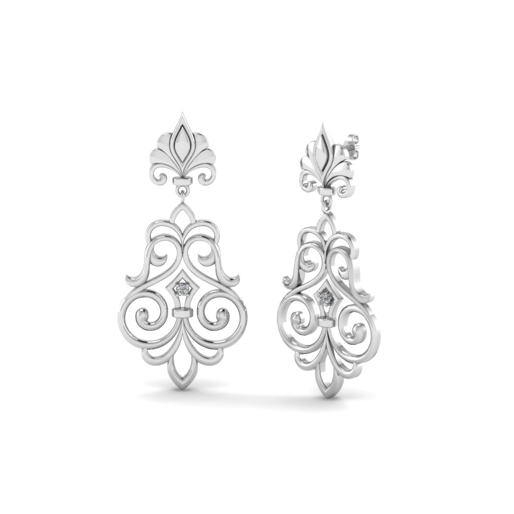 filigree round diamond drop earring in 14K white gold FDEAR85622 NL WG