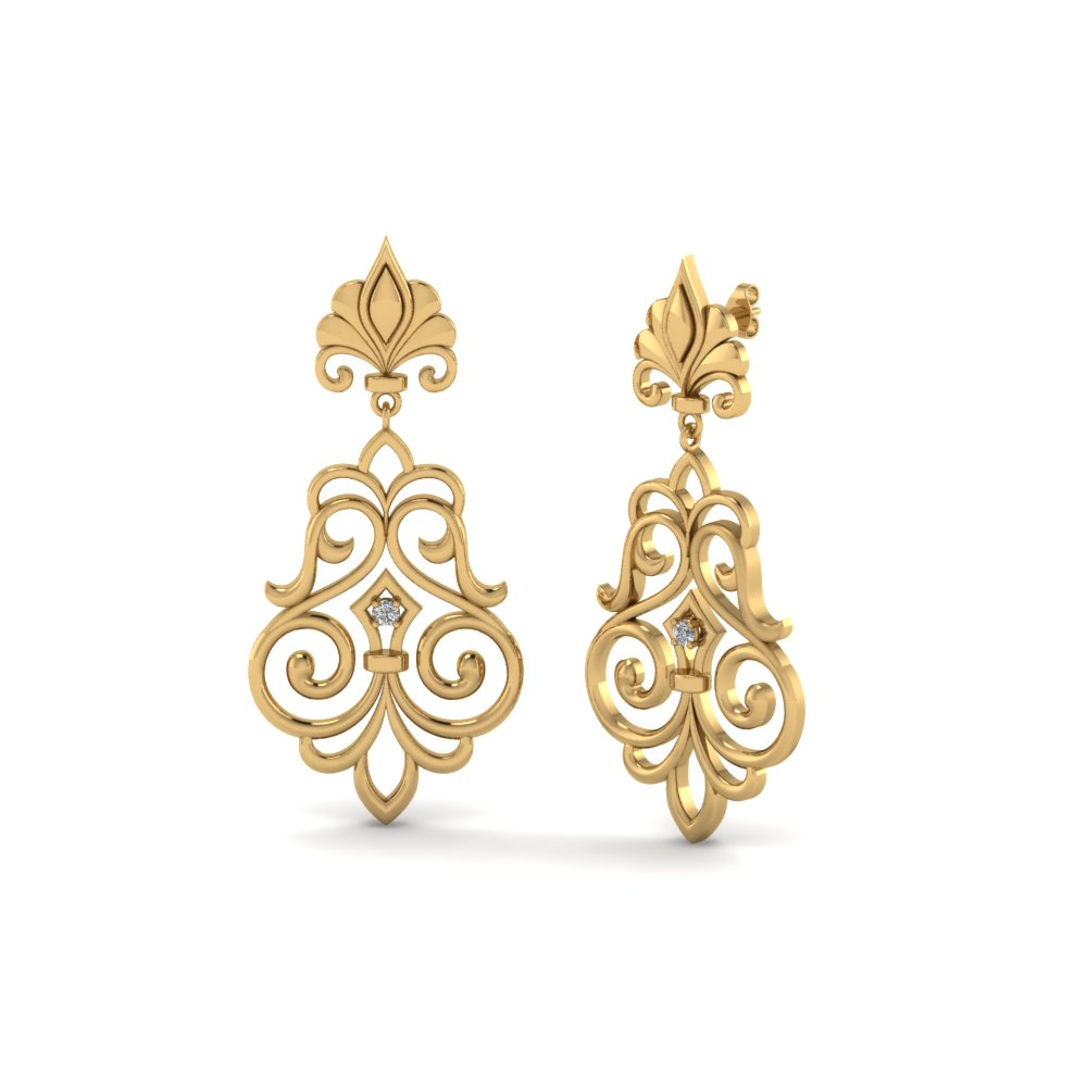 Yellow Gold Antique Filigree Diamond Earrings
