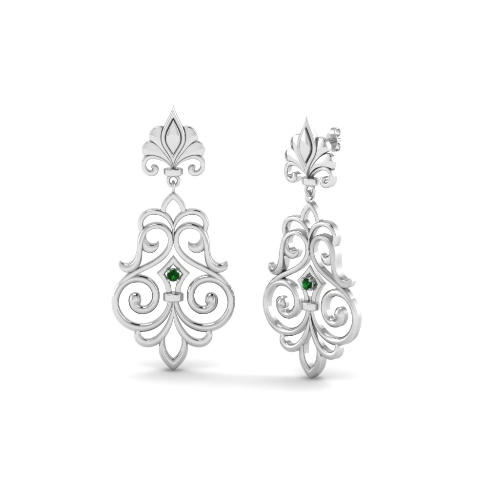filigree round diamond drop earring with emerald in 14K white gold FDEAR85622GEMGR NL WG