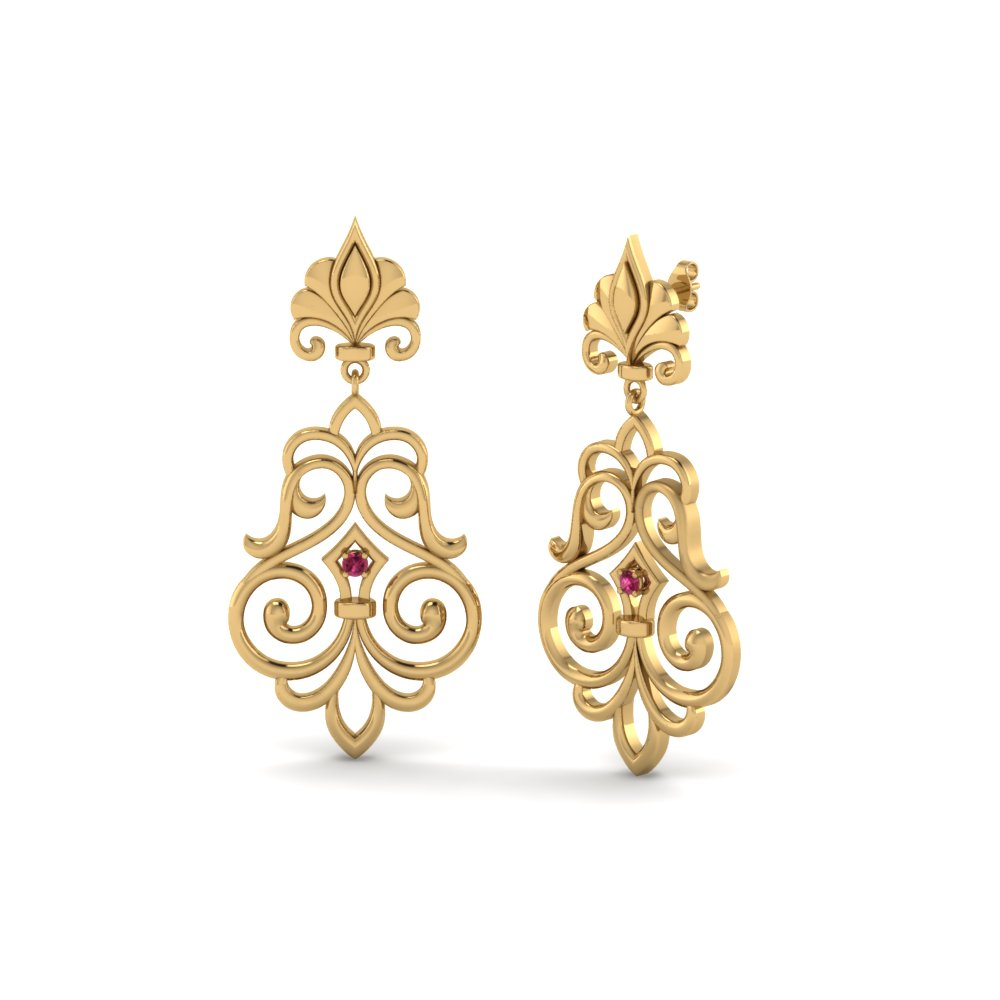 Gold Filigree Drop Earring