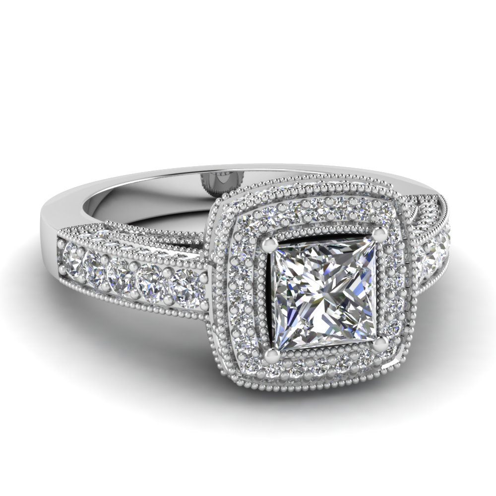 filigree shank 1.50 ct. princess cut pave halo diamond engagement